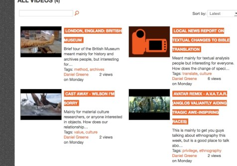 Screen shot of the video section of the course site