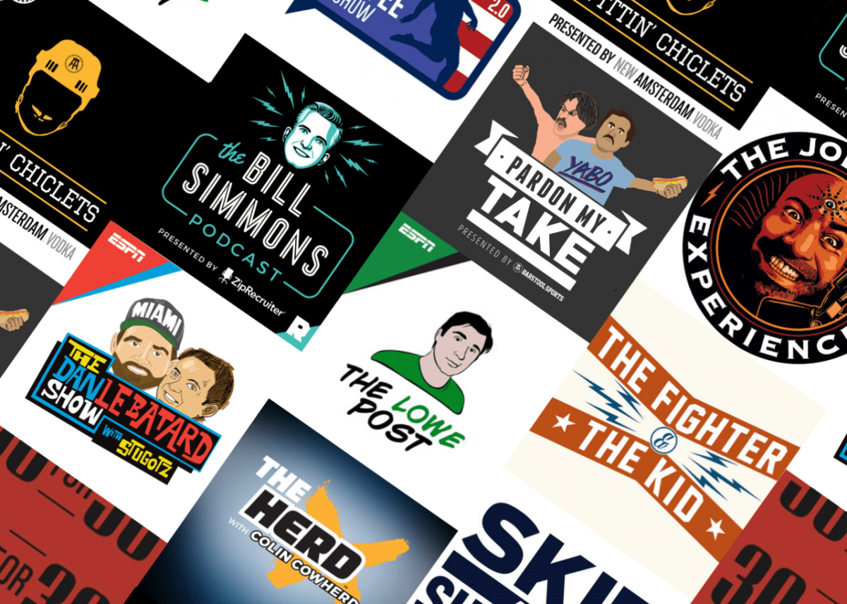lists indicating that the current landscape of sports podcasting is dominated by content focused on a narrow set of professional sports, produced and hosted almost exclusively by men, with little perspective through a critical lens.