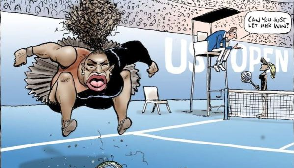 """A cartoon depicts Serena Williams smashing her racket and jumping up and down in anger, while a referee says to Naomi Osaka in the background, """"can you just let her win?"""""""