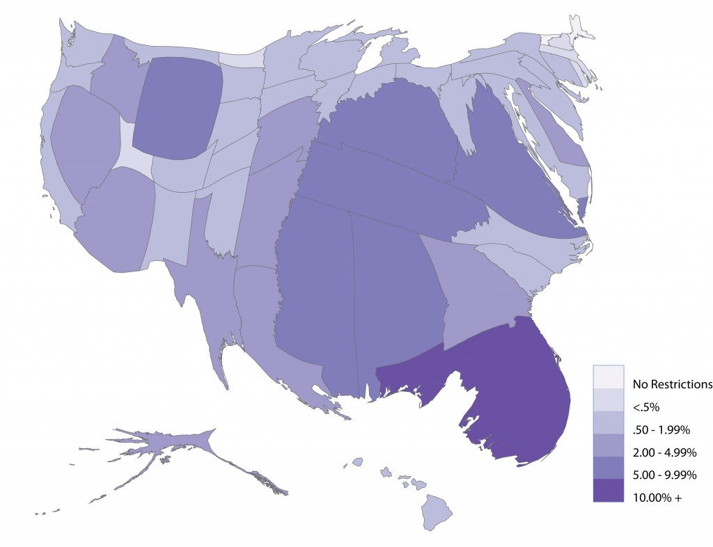 Felon Disenfranchisement Cartogram created for The Society Pages by Sarah Shannon