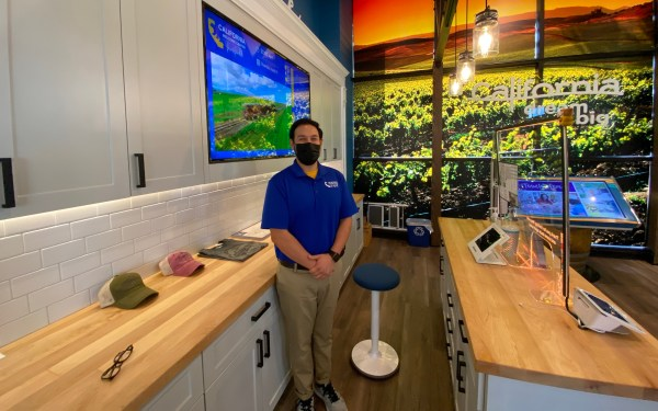 California Welcome Center Manager Anthony Taylor. Welcome Center is located inside the Jelly Belly Factory, Fairfield.
