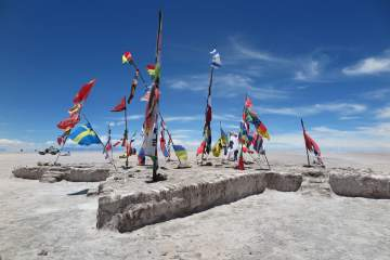 Many country flags in Salar de Uyuni