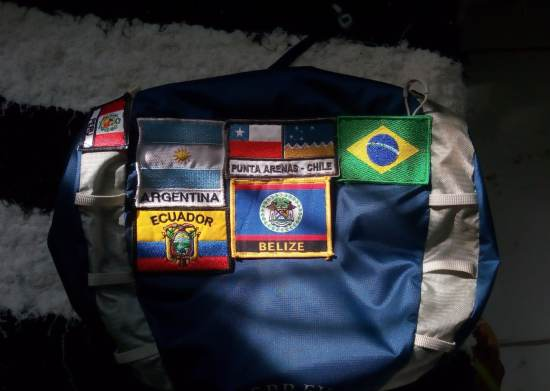 Country flags sewed on a backpack