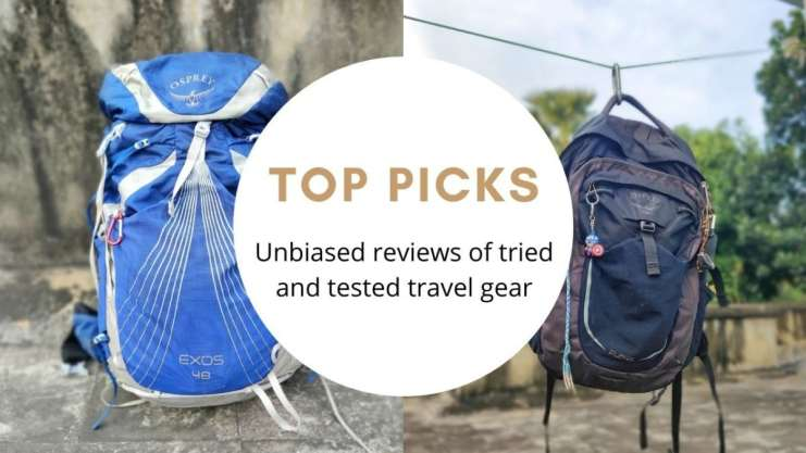 two backpacks side by side and text in between stating 'top picks'