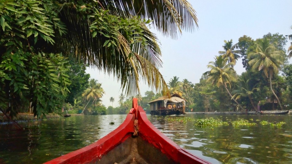 A red Canoe front on backwaters of Kerala with coconut trees in distance