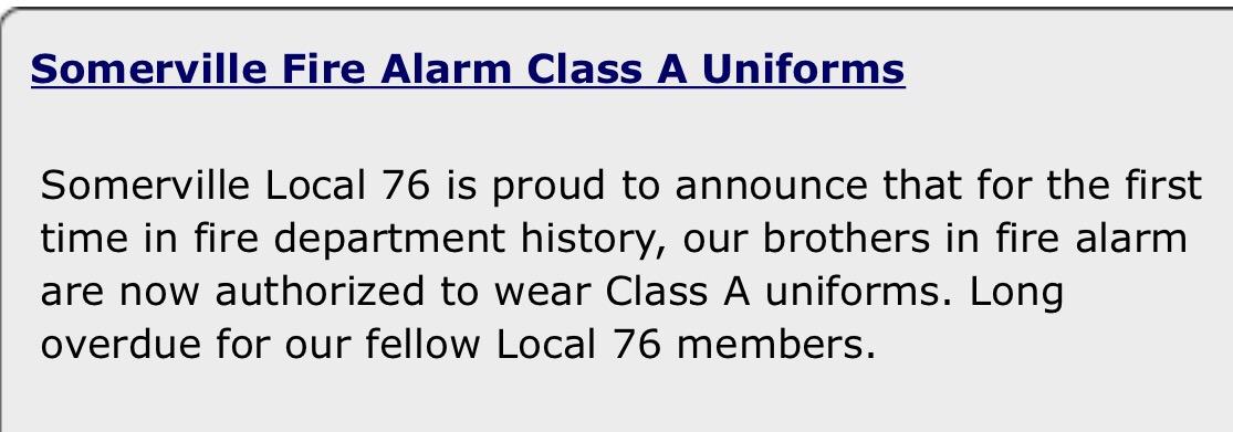 Somerville Fire Alarm Ok To Wear Class A Uniforms | The Somerville ...