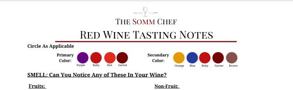 section of red wine tasting worksheet