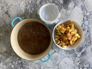 French Onion Soup; Soup Bowls; Croutons