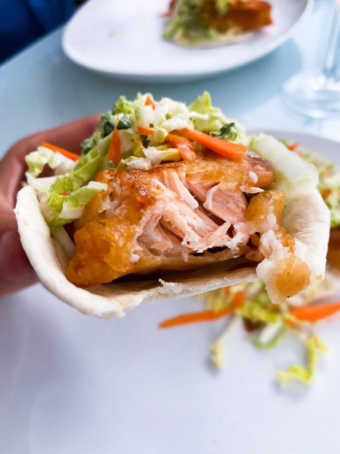 Salmon Beer batter Fish Tacos