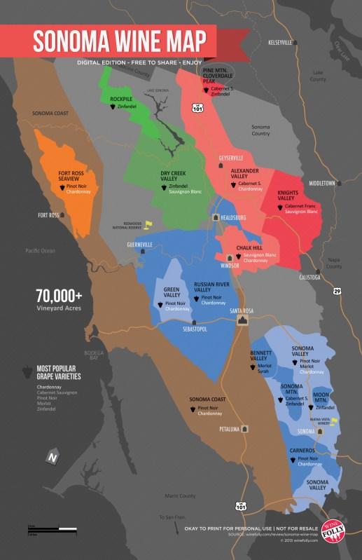Sonoma Wine Map, Cabernet Sauvignon