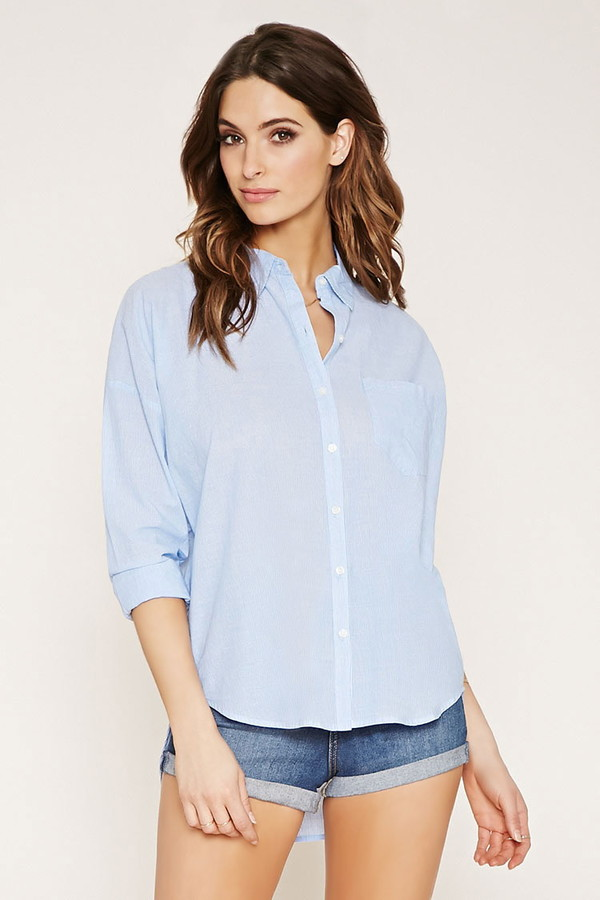 chambray micro-stripe shirt