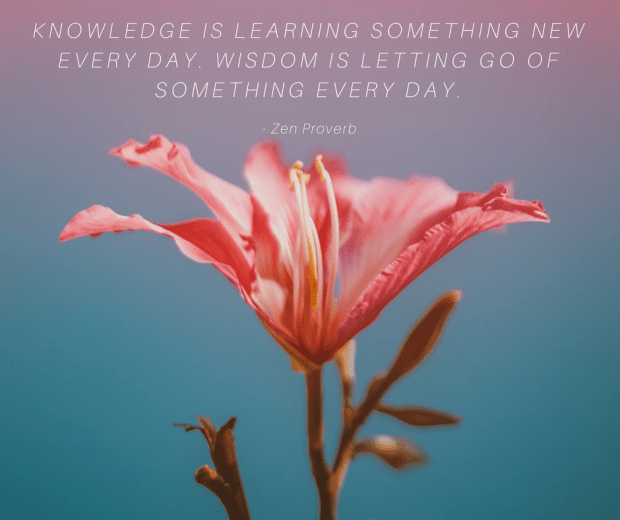 Knowledge is learning something new every day. Wisdom is letting go of something every day.- Zen proverb.
