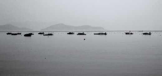 Boats drifting in the sea