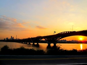 Seoul, Korea: Han River, Sunset, Bridge
