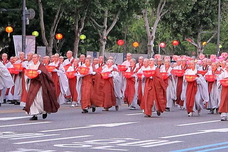 Seoul, Korea: Lotus Lantern Festival, monks