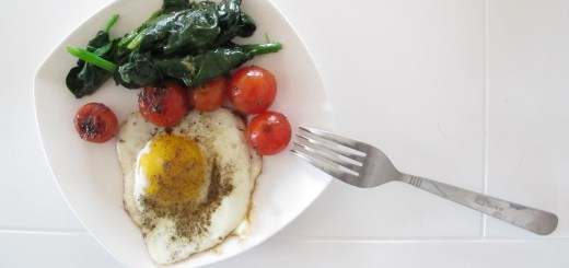 Food: Breakfast, Eggs, Spinach and Tomatoes