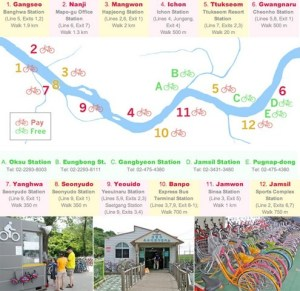 Han River Bike Rental Kiosks Map