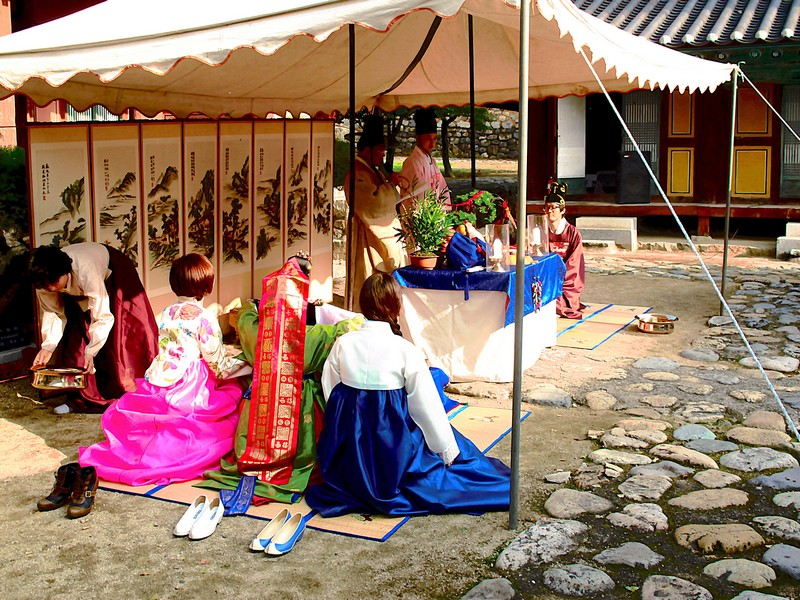 Korean Traditional Wedding: Busan, Korea, Multicultural Wedding. American Wife & Korean Husband in traditional Hanboks