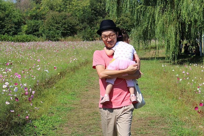 Nanji Hangang Park, World Cup Park, Mapo-gu, Seoul, Korea: Cosmos Field: Jae-oo & baby