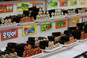 Moraenae Market, Namdong-gi, Incheon, Korea: Korean street food, kimbap