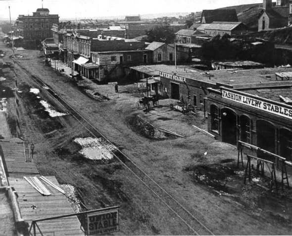 Stables and rail tracks in downtown L.A.