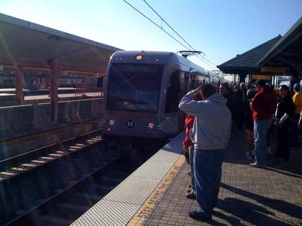 An Eastside Extension train arrives at Union Station from East L.A.