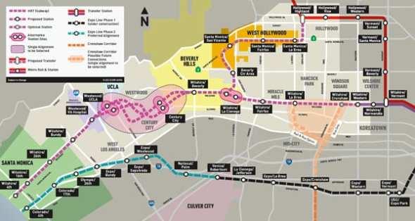 Westside Subway Extension alternatives map.