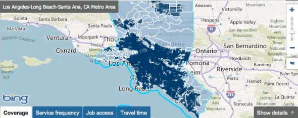 L.A.'s transit coverage. All that dark blue? Transit access.