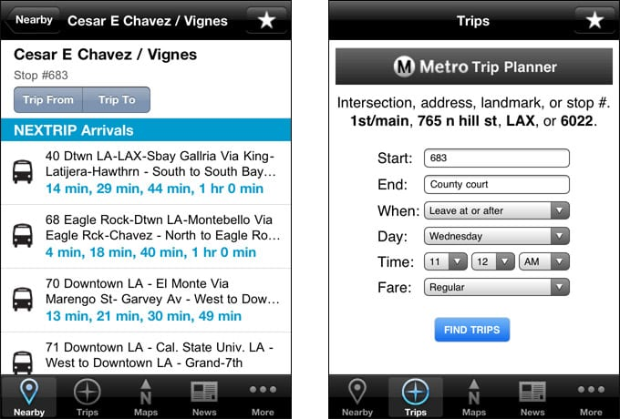 Go Metro V2 (iPhone) - Stop and Trip Planner screen