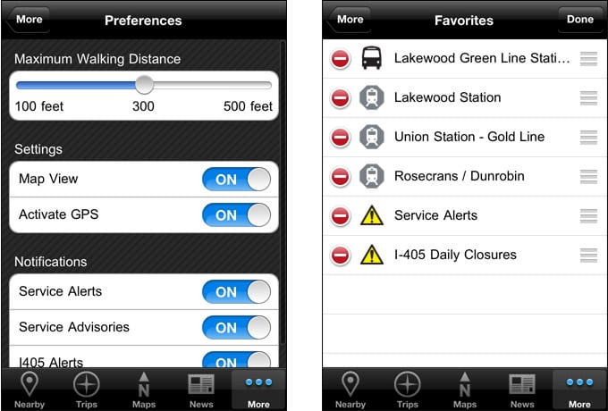 Go Metro V2 (iPhone) - Preferences and Favorites