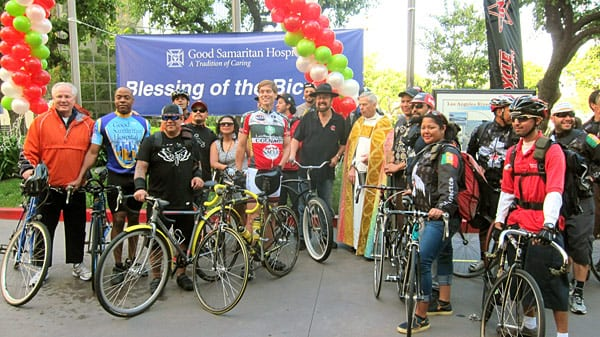 The annual Blessing of the Bicycles at Good Samaritan Hospital in Los Angeles, now in its ninth year, is a popular event during Bike Week L.A. Group photo includes Good Samaritan Hospital CEO Andy Leeka, center, in bicycle shirt, and L.A. City Councilman Tom LaBonge, far left. Photos: Dave Sotero