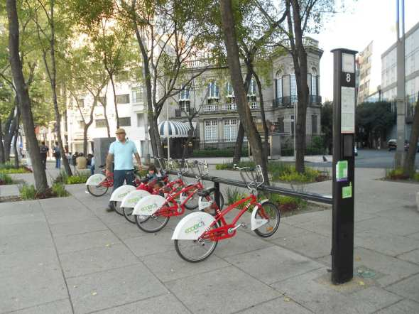 A bike sharing station in Mexico City. Photo by Denis Bocquet, via Flickr creative commons.