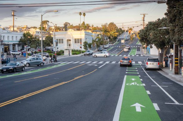 "The new Ocean Boulevard ""Green Street"" in Santa Monica between Neilson Way and Lincoln Boulevard. Sidewalks were widened, bike lanes painted, trees were planted, among other things. Click above to see a fact sheet on the project. Photo by Steve Hymon/Metro."
