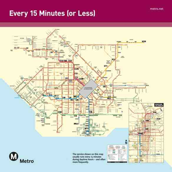 This map shows Metro bus and rail service that runs every 15 minutes or less during the day. Click above to see larger.