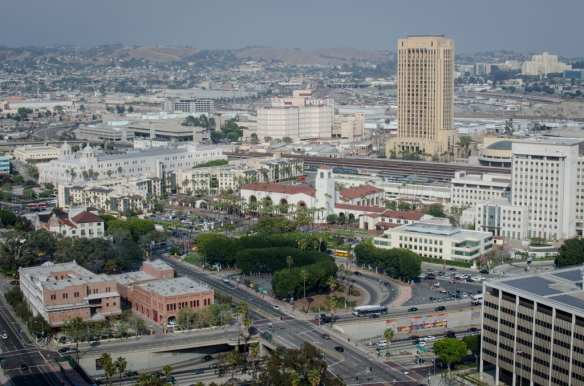A view of Union Station and the surrounding area. Metro headquarters, the MWD headquarters (to the right of Union Station), the First 5 building (in front of the MWD) and the Mozaic Apartments are all on the property that Metro owns. Photo: Steve Hymon/Metro.