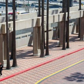 And the oft-quiet walkway on the far side of the transit plaza.