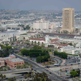A wide view of Union Station and the surrounding area.