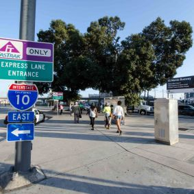 And here's the Silver Line stop at Alameda and the 10 freeway.