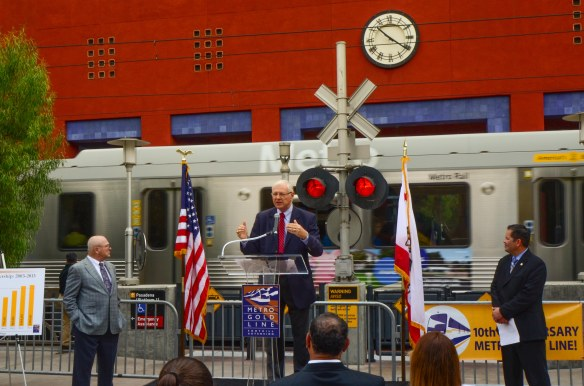 Supervisor and Metro Board Member Michael D. Antonovich speaks at the event Friday morning. Photo by Steve Hymon/Metro.