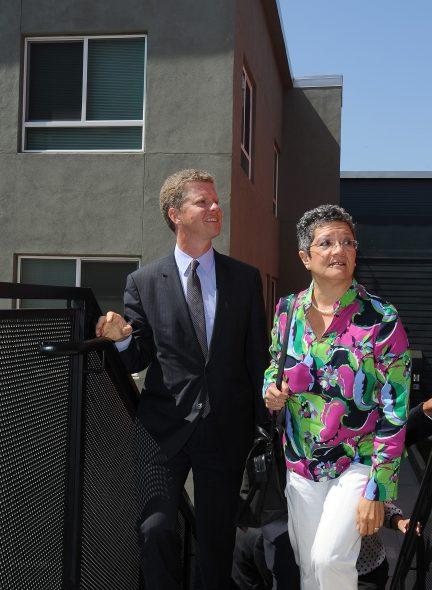 Housing secretary Shaun Donovan tour's Metro's transit oriented development near MacArthur Park.