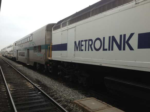 Metrolink Antelope Valley train waiting at Union Station.