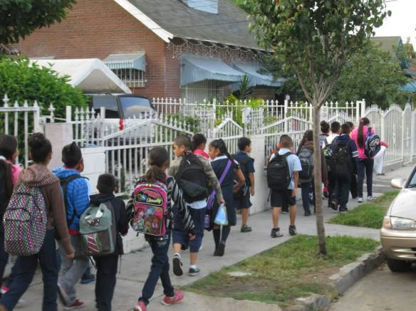 A walking school bus! Photo: Walk to School Day L.A. Official Facebook
