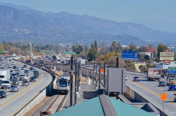 The view east from the Sierra Madre Villa station toward the alignment for the Foothill Extension.