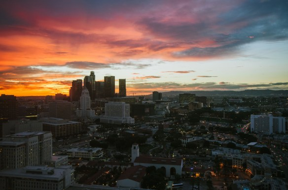 ART OF TRANSIT: The sunset over Union Station and downtown Los Angeles on Friday as seen from the 25th floor of Metro headquarters. Photo by Steve Hymon/Metro.