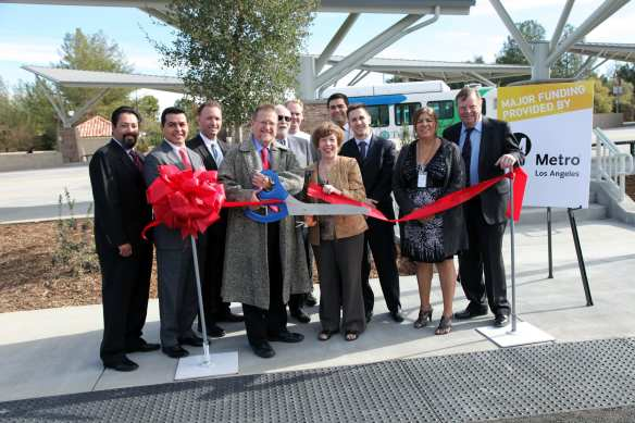 McBean Park and Ride ribbon cutting. The event was attended by Santa Clarita Mayor Bob Kellar, Councilmembers TimBen Boydston and Marsha McLean, along with representatives from other local elected officials. Photo: Michael Richmai/Metro