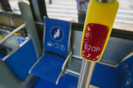 """The buses have """"blue chip priority seat fabric."""""""