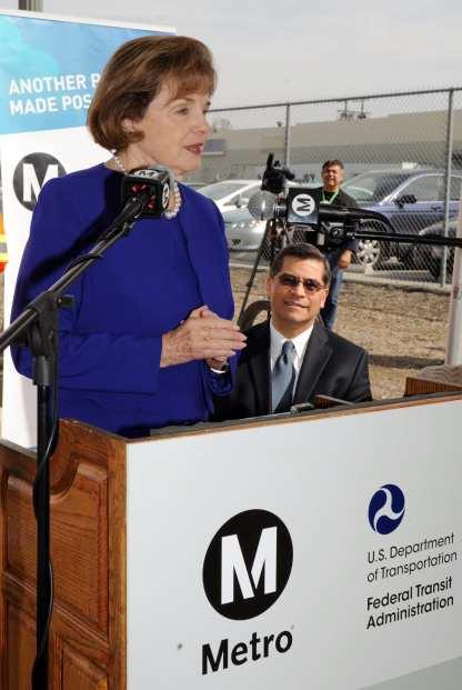 U.S. Senator Dianne Feinstein speaking at the media event Thursday.