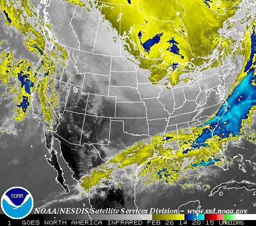 The oncoming storm via the National Weather Service.