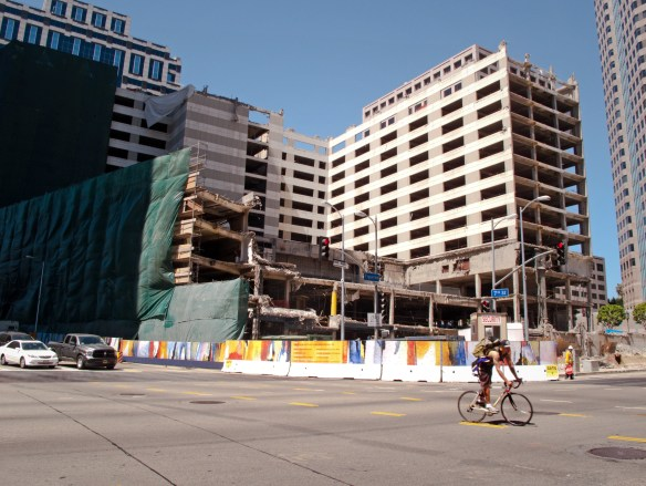Demolition of the old Wilshire/Grand Hotel, 2013, via Wikipedia.