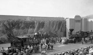 "Scene III of ""Romance of the Rails"" represented completion of the Transcontinental Railroad. Neither locomotive in this scene was an accurate reproduction of those at the actual event. Photo by Ralph Melching."